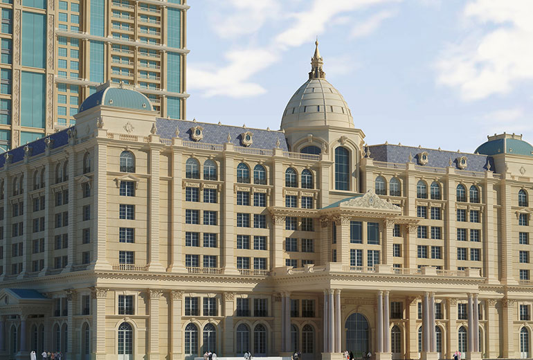 St Regis Dubai hotel - Hotel front close-up view