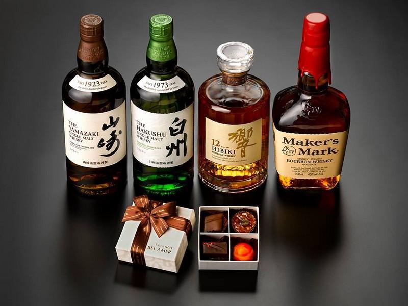 Suntory whiskies and chocolate