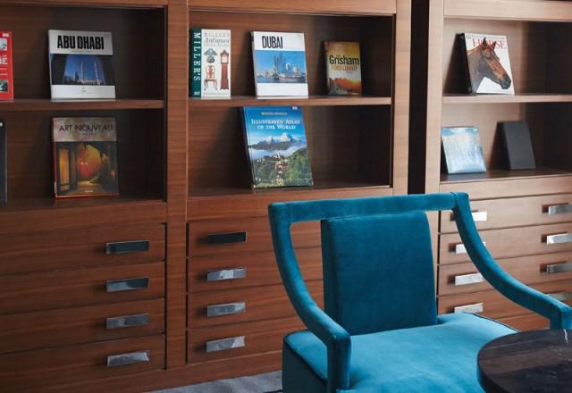 Taj Dubai 2015-The library in the Presidential Suite, on the 33rd floor of Taj Dubai