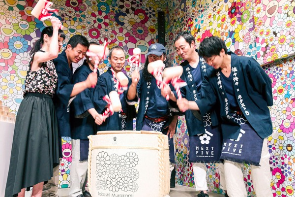 Takashi Murakami × NEXT5  sake bottles 2016 - the Kagamiwari ceremony