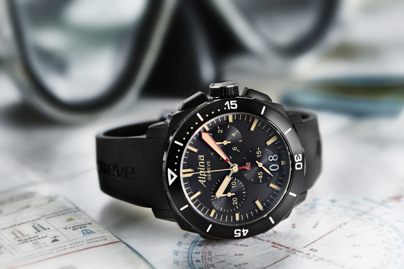 The Alpina Seastrong Diver 300 Black Chronograph Big Date