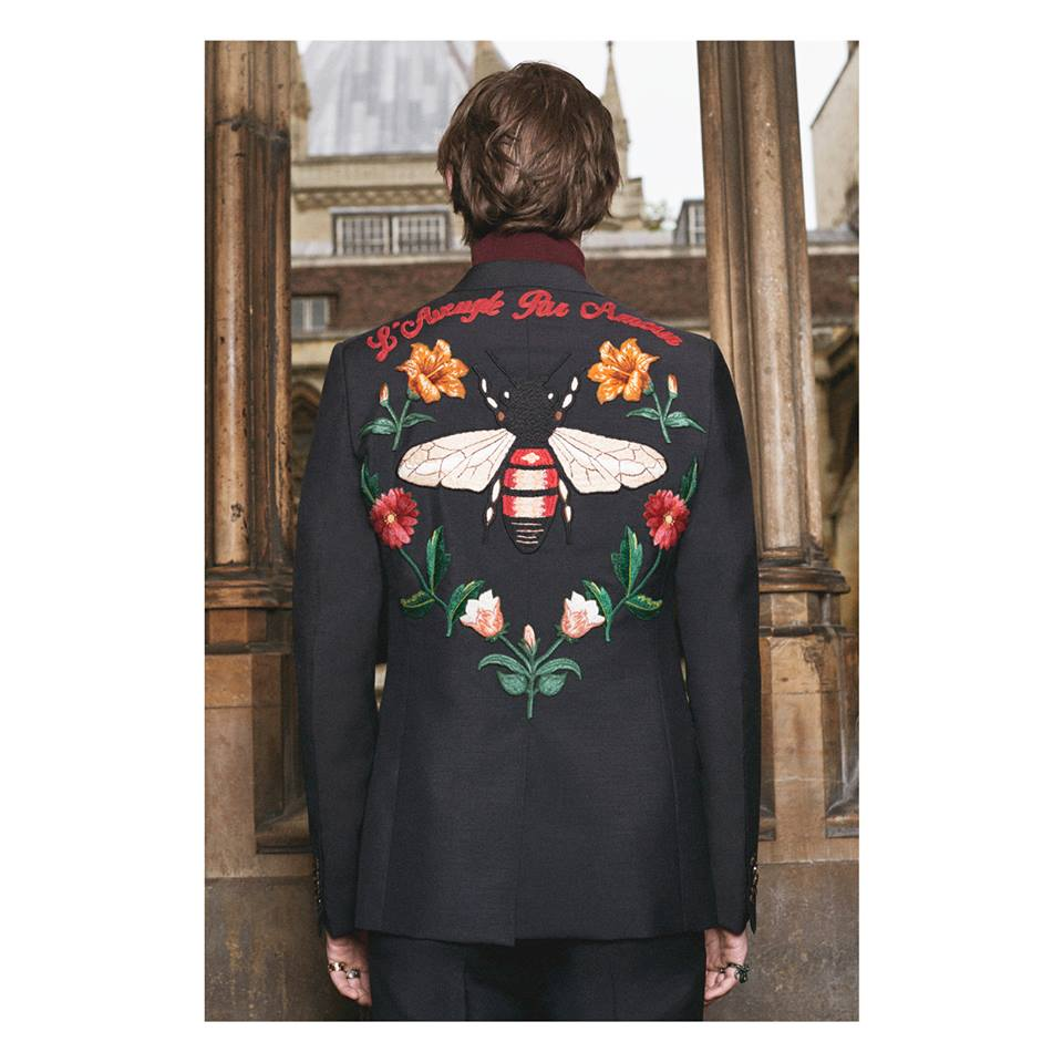The GucciDIY service extends to Alessandro Michele's tailored embroidered jacket.