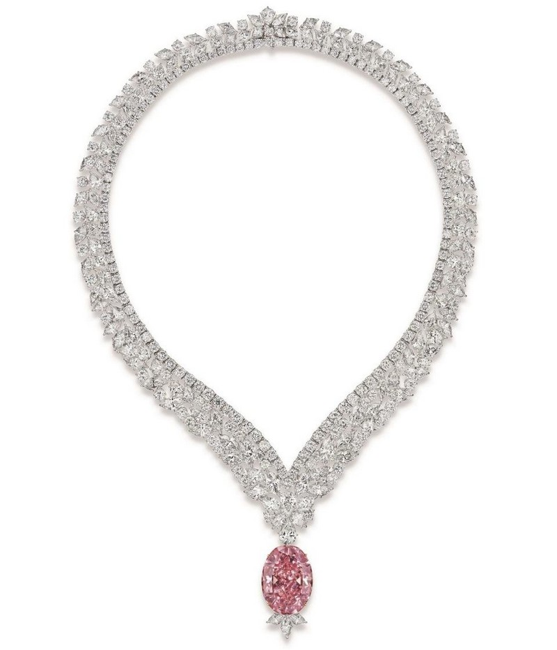 the-juliet-pink-diamond-set-in-a-necklace-with-marquise-pear-and-round-cut-white-diamonds-totaling-98-70-carats