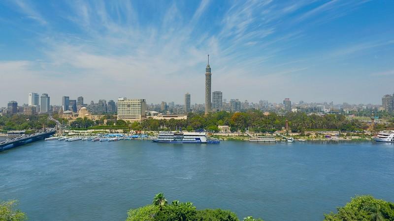 The Nile Ritz-Carlton Hotel _Cairo skyline Nile port