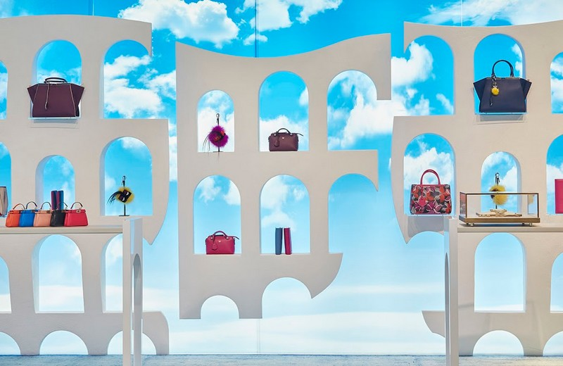 The new Fendi pop-up is now open at Harrods  in London inspired by the Palazzo della Civiltà Italiana headquarters in Rome