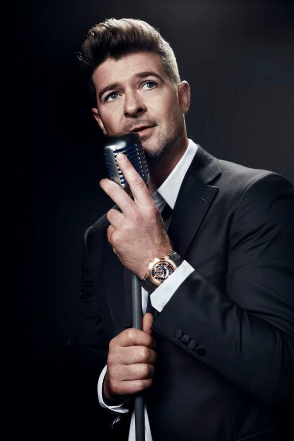 The night of the Opus14 launch, Robin Thicke was announced as the new Ambassador for HarryWinstonTimepieces