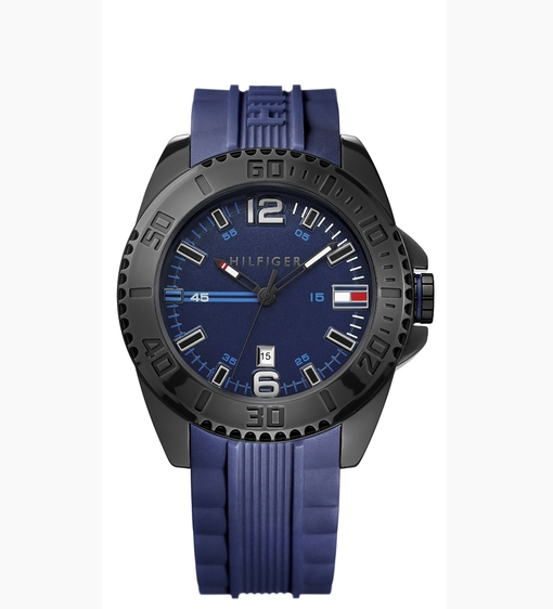 Tommy Hilfiger men's blue silicone strap watch with a TR90 case