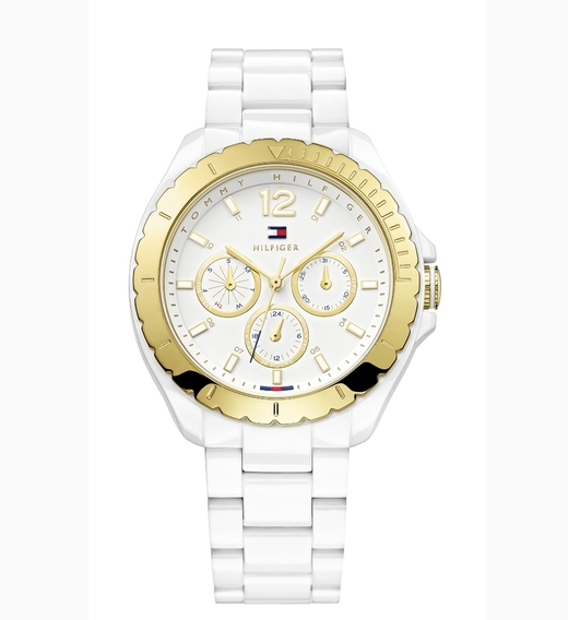 Tommy Hilfiger women's gold-plated bezel watch with a TR90 case and bracelet