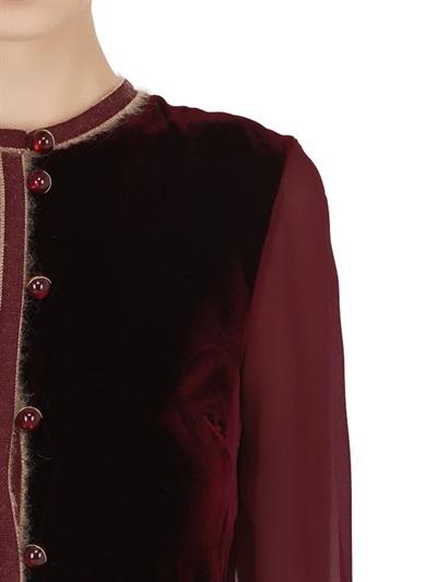VELVET & WOOL CREPE DRESS