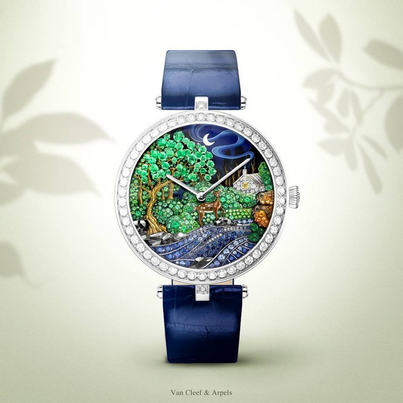 Van Cleef & Arpels at Watches & Wonders 2015, Hong Kong expo-Lady Arpels Peau d'Âne Forêt enchantée watch Extraordinary Dials collection