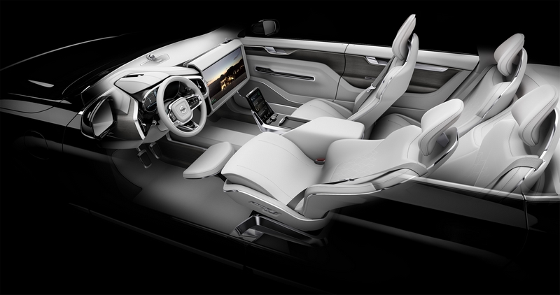 Volvo Cars Concept 26 - Wide angle shot of Relax mode with 25-inch screen flipped up and seat reclined