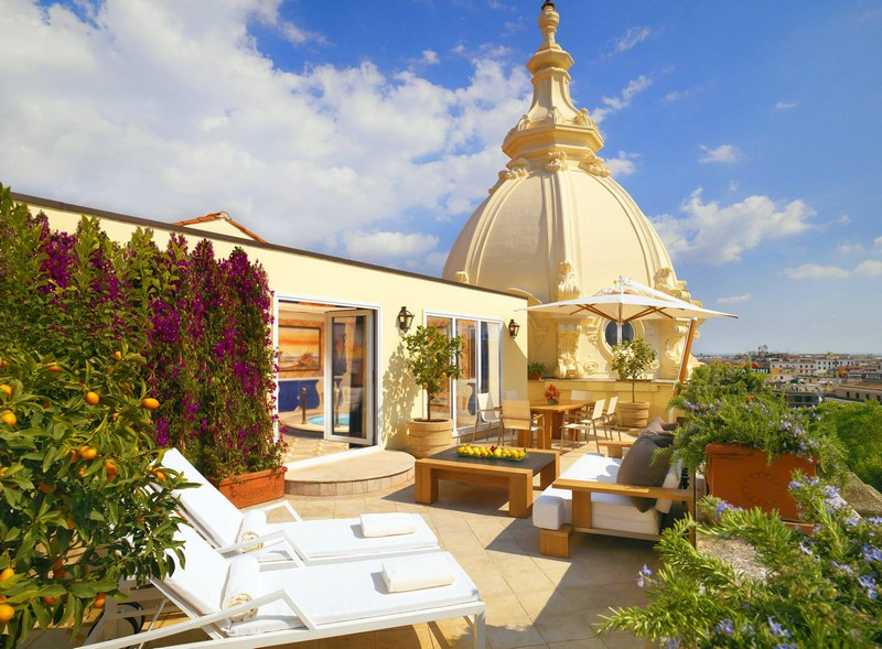 Westin Excelsior hotel Rome- roof terrace