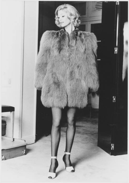 YSL 1971 - manteau de renard vert, haute couture 1971