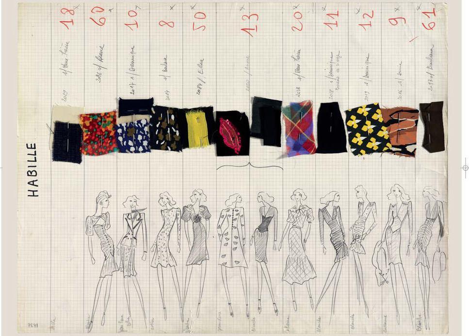 YSL 1971 - planche de collection, haute couture - 1971-