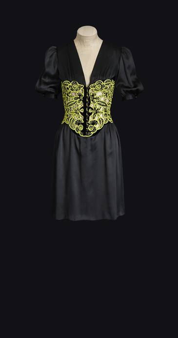 YSL 1971 - robe de jour courte corselet brode de vert, haute couture 1971