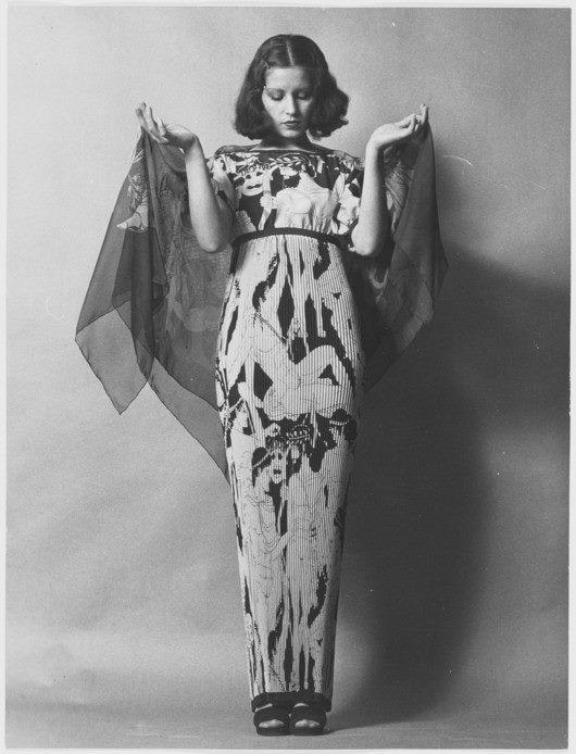 YSL 1971 - robe longue imprimée grecque, haute couture 1971
