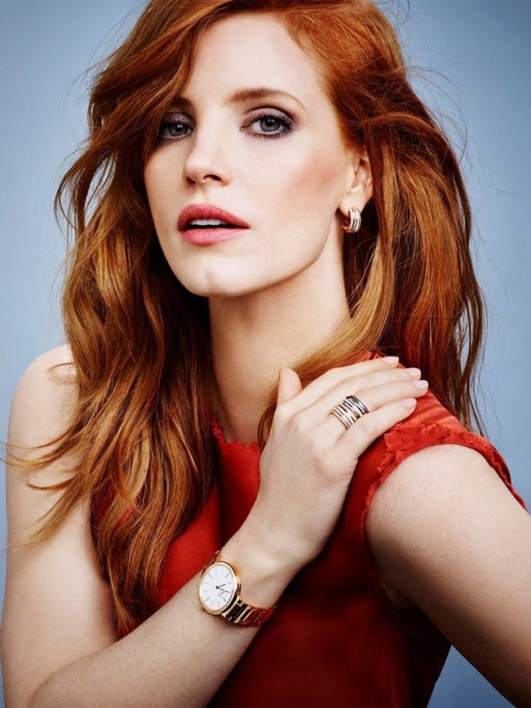 actress Jessica Chastain was named a brand ambassador of Swiss jewelry brand Piaget 2015