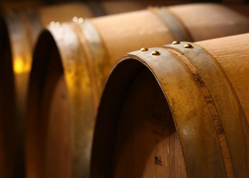 aged wine in barrels