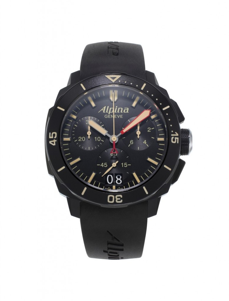 alpina watches - The Alpina Seastrong Diver 300 Black Chronograph Big Date