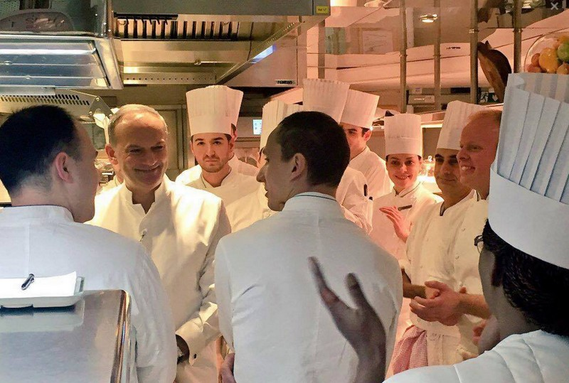 at Le Cinq restaurant cuisine team - Michelin France Guide 2016