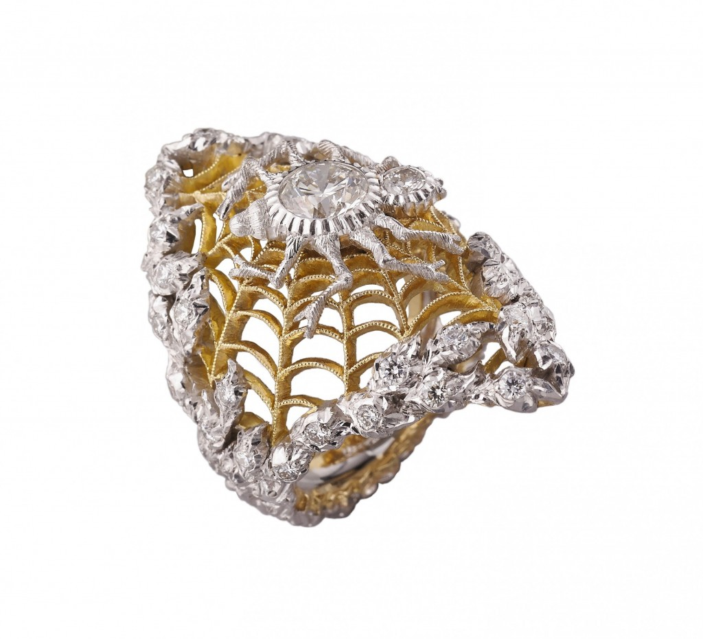 buccellati art collection-Gold ring inspired by The Spider's Web by Mikhail Larionov