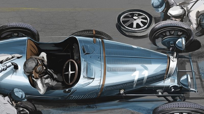 bugatti driver_louis_chiron_in_a_type_51_sketch_pit_stop