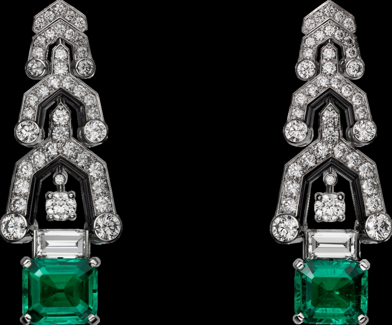 -cartier magicien high jewelry collection 2016 - Platinum, emeralds, onyx, diamonds earrings