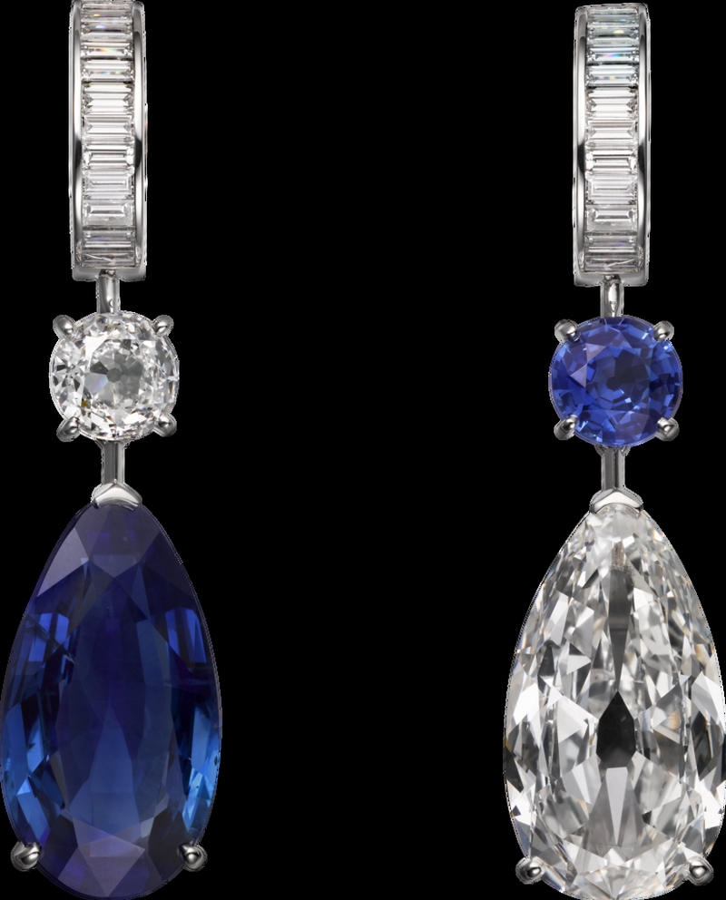 -cartier magicien high jewelry collection 2016 - Platinum, sapphires, diamonds earrings