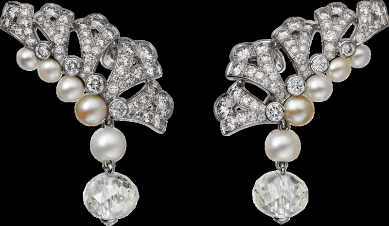 -cartier magicien high jewelry collection 2016 - platinum diamonds pearls earrings