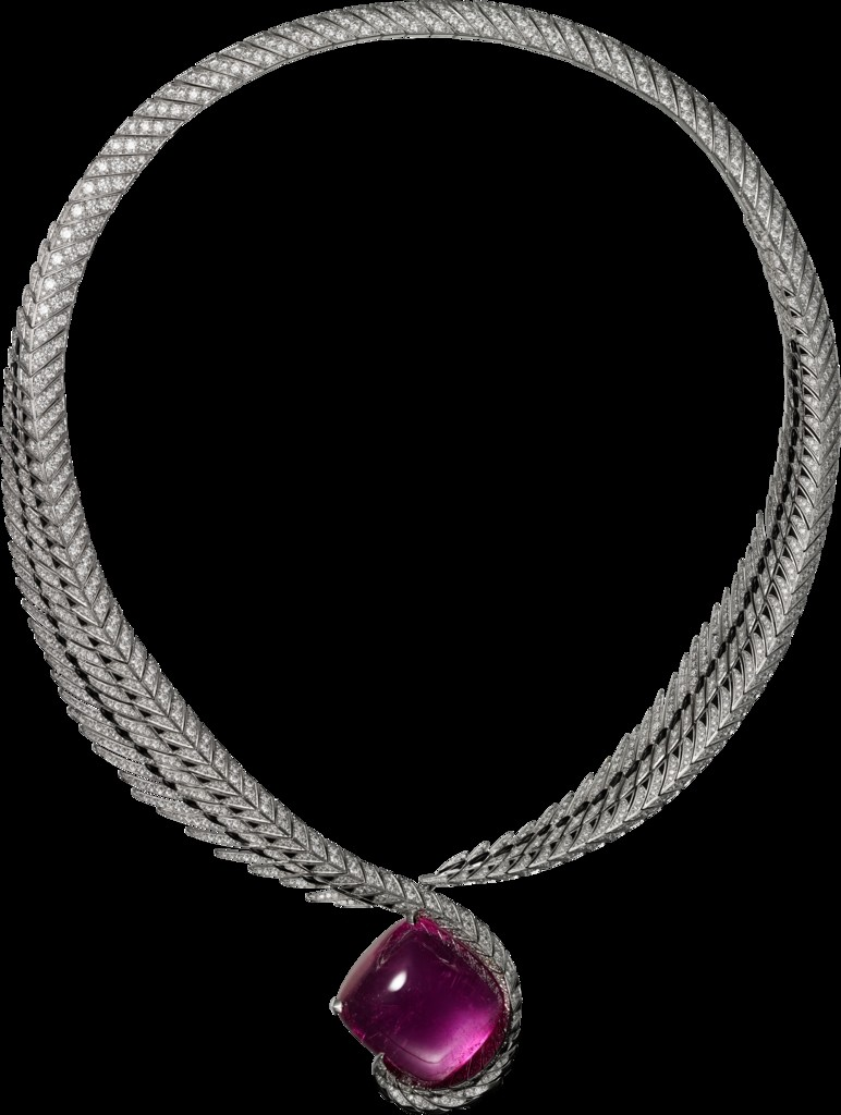 --cartier magicien high jewelry-magie du reel -Or gris, rubellites, laque noir, diamants