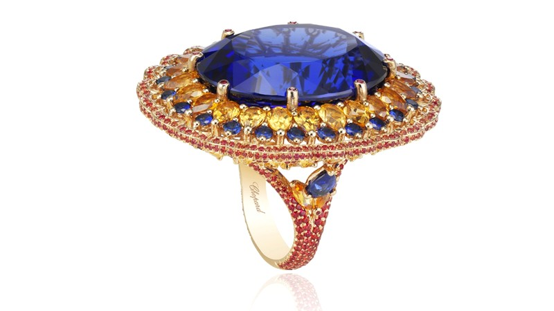 chopard Haute Joaillerie creations 2016 -ring with its 55ct tanzanite enlaced in golden spessartites