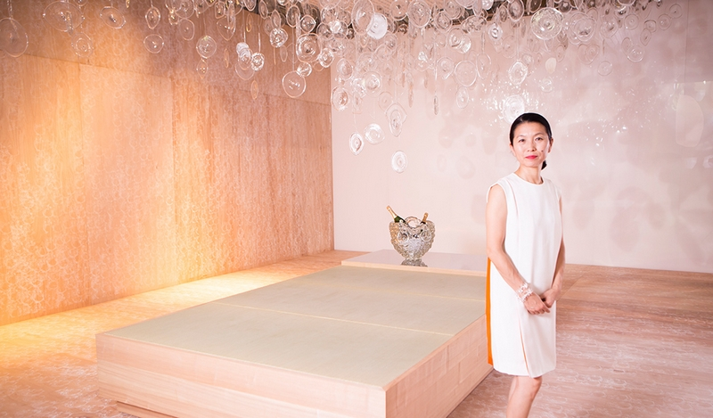 design miami 2015 - perriet jouet x Ritsue Mishima-murano glass champagne vase-