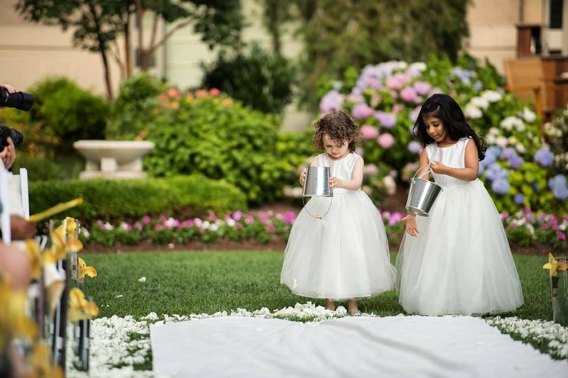 flower girls prepping the aisle for the bride to be at Mandarin Oriental, Washington DC