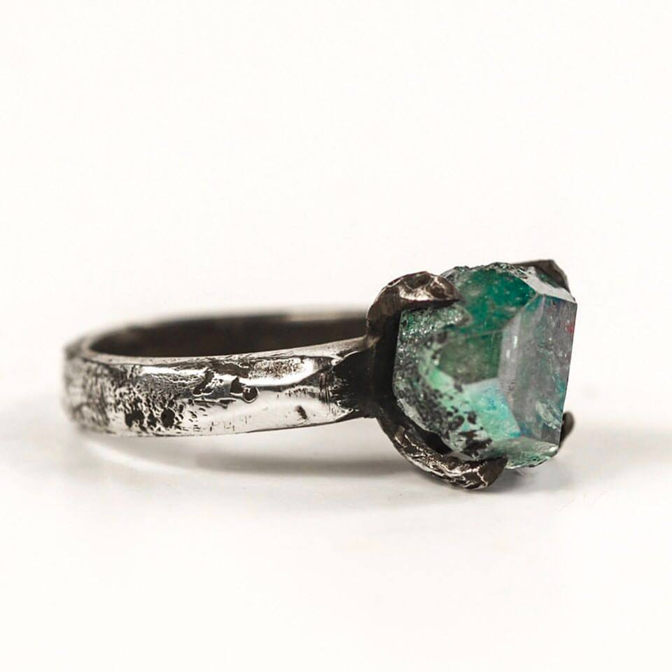 henson -Decayed Claw Ring with with a rare Aura Herkimer Diamond