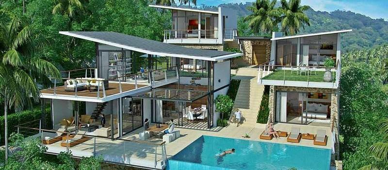 koh samui thailand - luxury living koh samui -5 & 6-BEDROOM #LUXURY SEA VIEW #VILLAS IN BOPHUT HILLS
