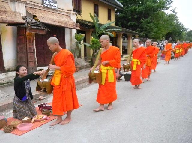 laos monks almsgiving