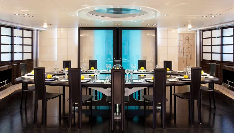 maltese falcon sailing superyacht-luxurious dining interiors-