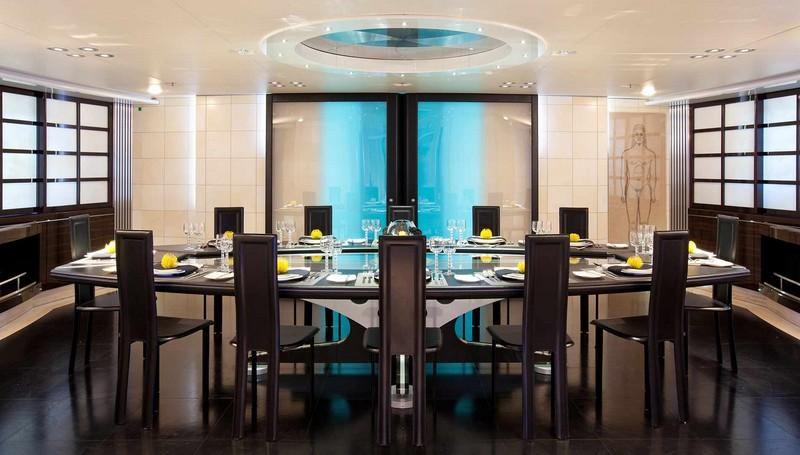 maltese falcon sailing superyacht-luxurious dining interiors-