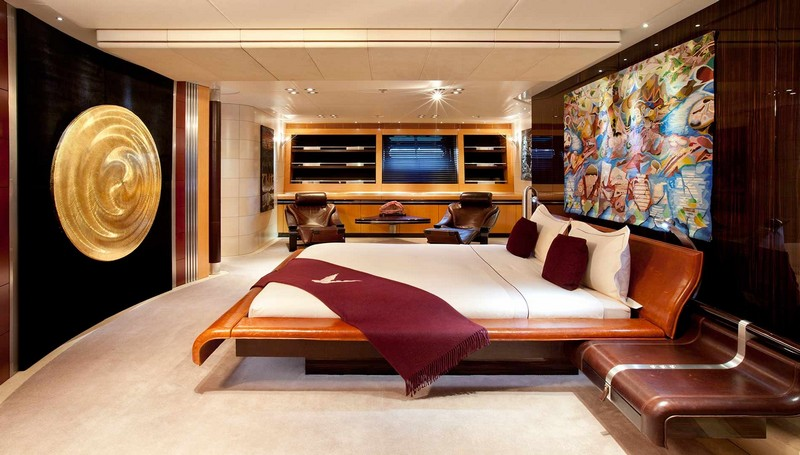 maltese falcon sailing superyacht-luxurious dining interiors-suite