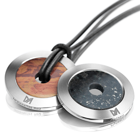 meister jewelry for men - Amulet made from titanium in combination with fossilised wood or platinum ore