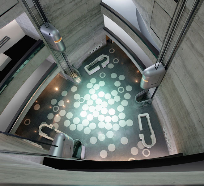 mercedes benz museum interior from above