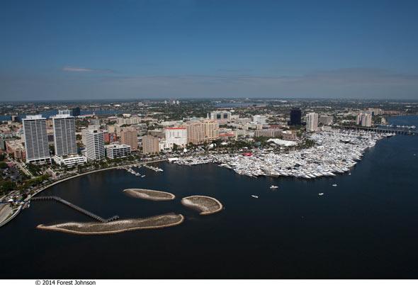 palm beach international boat show aerial view-