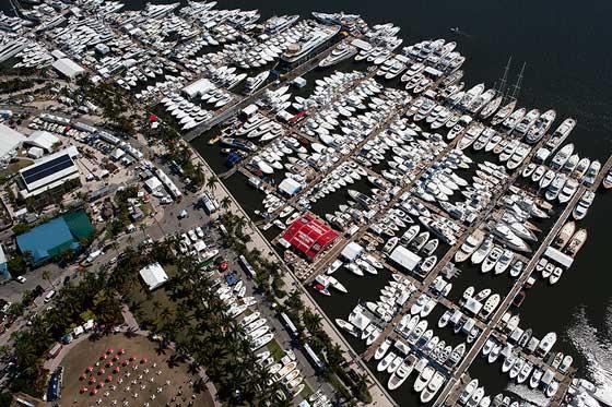 palm beach international boat show aerial view
