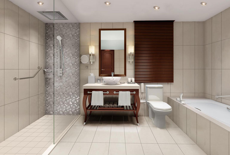 renovated Sheraton Samoa Aggie Grey's Resort-Guest Bathroom - Rendering