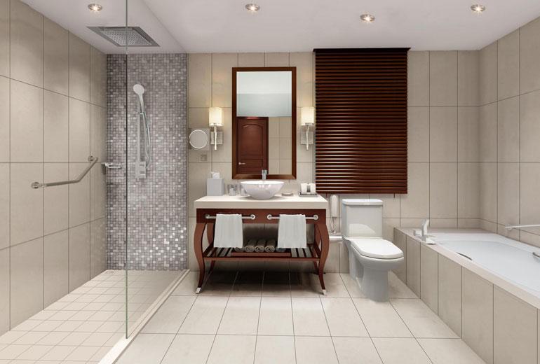 renovated Sheraton Samoa Aggie Grey's Resort-Guest Bathroom - Rendering