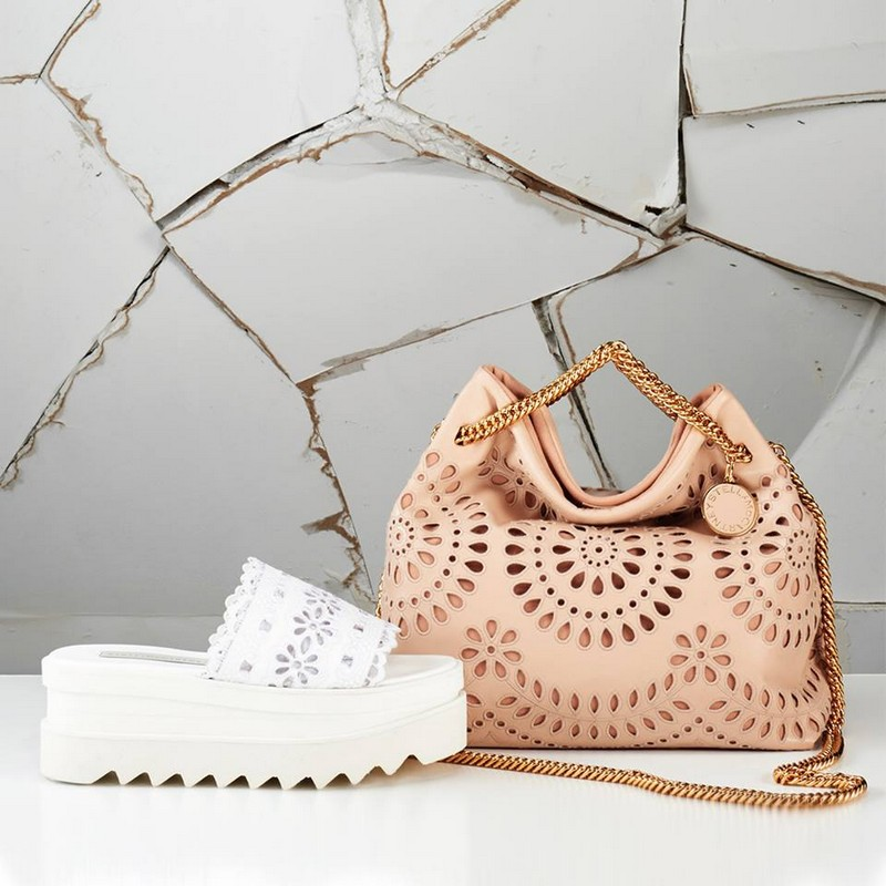 stella mccartney soft hued Noma bags and saw-edged slides featuring the patterned cut-outs