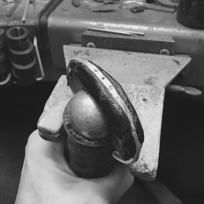 thisishenson jewelry- Hand carved cuff with black diamonds