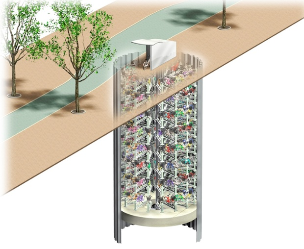 underground bicycle storage facility in Japan