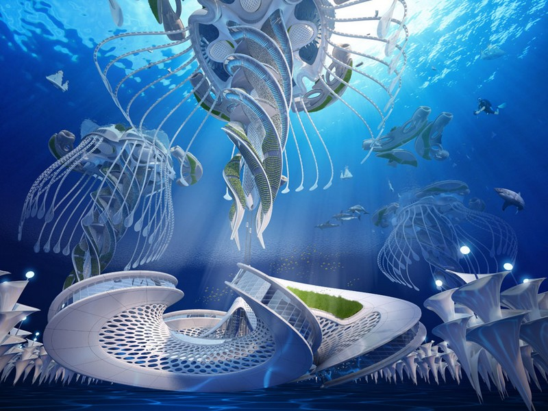 underwater part of Aequorea - an oceanscraper printed in 3D from the seventh continent's garbage
