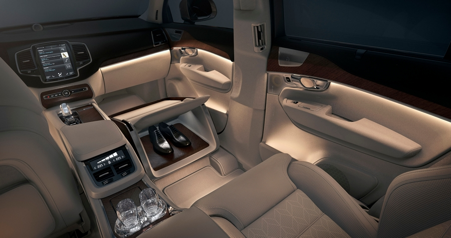 volvo lounge console--an additional area for shoes.